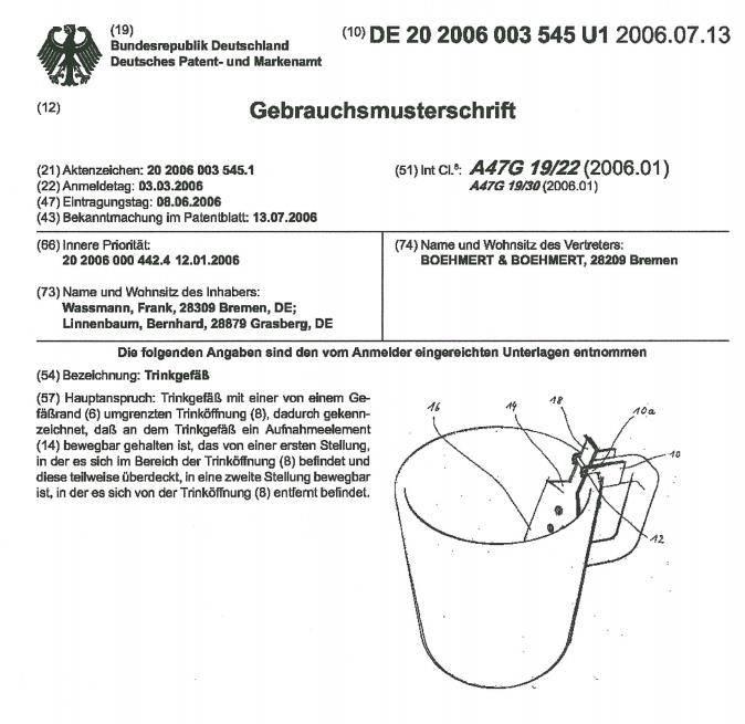 Patent Feuerzangentasse